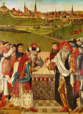 Hans Bornemann: Heiligenthaler Altar mit der ältesten bekannten Ansicht der Stadt Lüneburg (linker Außenflügel)