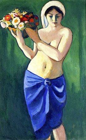 August Macke: Frau, eine Blumenschale tragend. 1910.