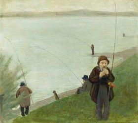 August Macke: Angler am Rhein. 1905