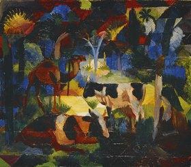 August Macke: Landschaft mit Kühen und Kamel