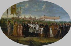 Johann Friedrich Sichelbein d.Ä.: Überführung der Benninger Wunderhostie (mit Ansicht von Memmingen von Südosten)