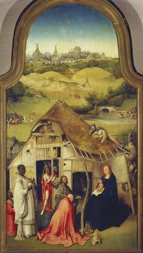 Hieronymus Bosch: Die Anbetung der Könige (Mitteltafel des Epiphanie-Triptychons)