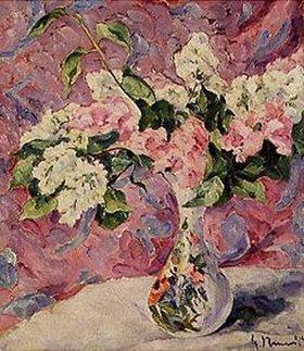 Heinrich Nauen: Flieder in heller bemalter Vase