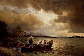 Hans Fredrik Gude: Fischer im Boot am Chiemsee-Ufer