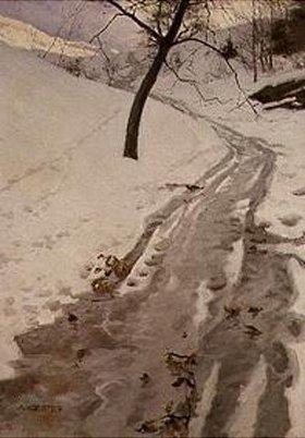 Alexander Koester: Winterlicher Weg bei Klausen/Südtirol