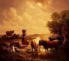 Johann Friedrich Voltz: Hirtenfamilie mit Kühen an der Tränke