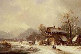 Anton Doll: Oberbayerisches Dorf im Winter