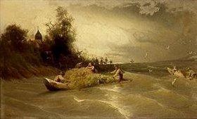 Carl Raupp: Stürmische Heimfahrt von der Fraueninsel im Chiemsee. 1870(?)