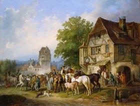 Reinhold Braun: Schwäbischer Pferdemarkt in einem alten Städtchen