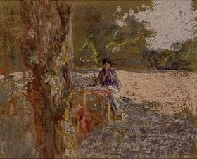 Edouard Vuillard: Frau, in einem Garten sitzend