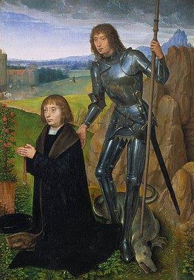 Hans Memling: Der hl.Georg mit einem Stifter. Rechter Flügel (innen) eines Klappaltärchens