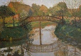 Otto Modersohn: Bauerngarten mit Brücke