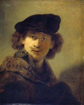 Rembrandt van Rijn: Selbstbildnis mit Samtbarett und einem Mantel mit Pelzkragen