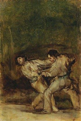 Francisco José de Goya: Der Zweikampf. Nach 1820. Skizze