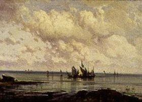 Alexej Petrowitsch Bogoljubov: Küsten-Szene mit Segelschiffen bei Windstille