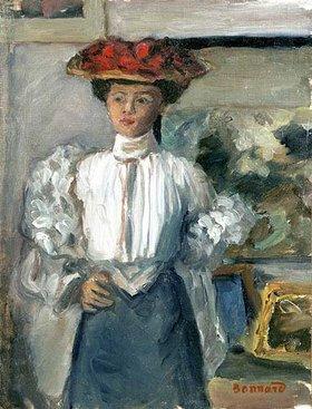 Pierre Bonnard: Junge Frau mit großem Hut in Rüschenbluse