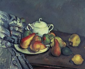 Paul Cézanne: Stilleben mit Zuckerdose, Birnen und Tischdecke