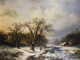 Barend Cornelisz Koekkoek: Winterlandschaft mit Eisläufern und Reisigsammlern