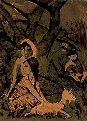 Otto Mueller: Lagernde Zigeunerfamilie mit Ziege