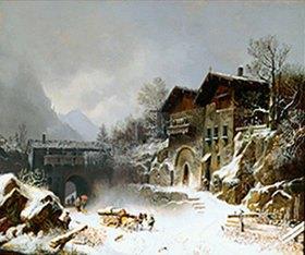 Heinrich Bürkel: Die Häuser von Rattenberg im Winter