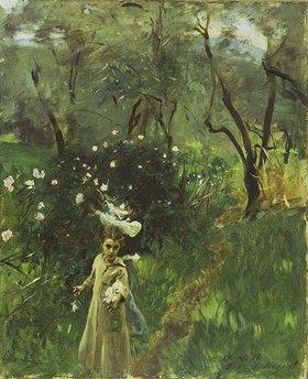 John Singer Sargent: Mädchen beim Blumenpflücken im Dämmerlicht