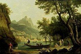 Claude Joseph Vernet: Fischer am Seeufer vor einem Kloster