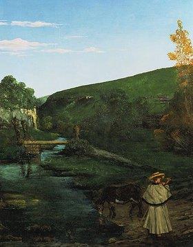 Gustave Courbet: Schafhirte mit Esel in Juralandschaft