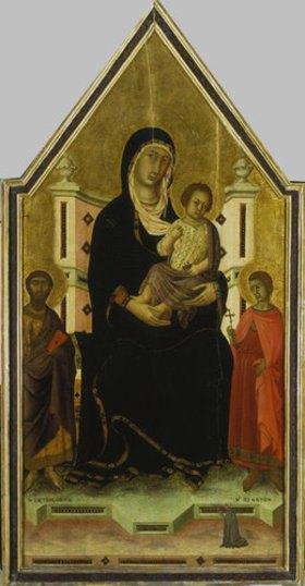 Segna di Buonaventura: Madonna mit Kind und den heiligen Bartholomäus und Ansanus und einer kleinen Stifterfigur