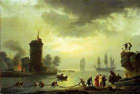 Claude Joseph Vernet: Seehafen in Abendstimmung mit Leuchtturm