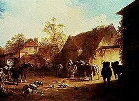 John Frederick Herring d.Ä.: Im Hof eines Dorfgasthauses