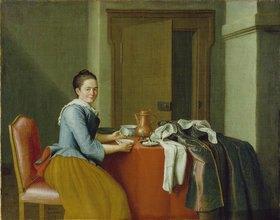 Peter Jakob Horemans: Stilleben mit weiblicher Figur (mit Kaffeetasse)