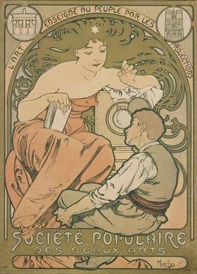 Alfons Mucha: Plakat für die Société Populaire des Beaux Arts