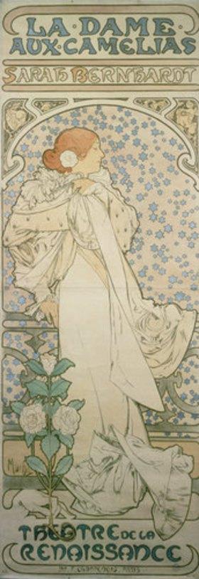 Alfons Mucha: Die Kameliendame mit Sarah Bernhardt. Plakat für das Theatre de la Renaissance