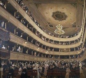 Gustav Klimt: Innenansicht des alten Burgtheaters. Blick gegen den Zuschauerra