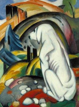 Franz Marc: Der weiße Hund (Hund vor der Welt). 1912