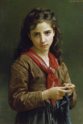 William Adolphe Bouguereau: Junges strickendes Mädchen