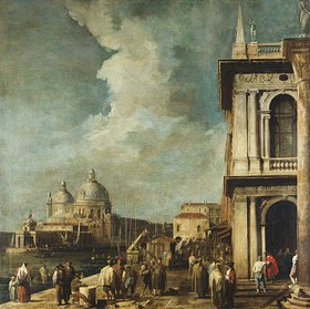 Canaletto (Giov.Antonio Canal): Blick von der Piazetta in Venedig auf den Canale Grande und Sta. Maria della Salute