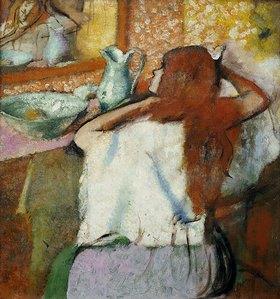 Edgar Degas: Frau, ihr Haar vor einem Spiegel ordnend