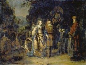 Gerbrand van den Eeckhout: Isaak und Rebecca am Brunnen Cahai-Roi