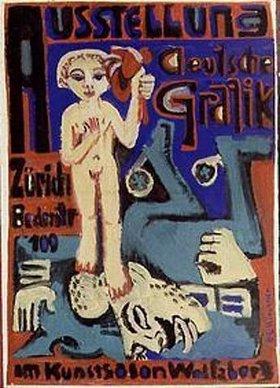 Ernst Ludwig Kirchner: Ausstellungsplakat Deutsche Graphik Zürich