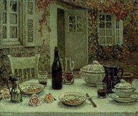 Henri Le Sidaner: Der gedeckte Tisch vor dem Haus