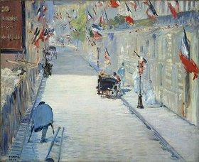 Edouard Manet: Die Rue Mosnier in Paris im Fahnenschmuck