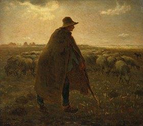 Jean-François Millet: Schäfer mit Herde bei Sonnenuntergang