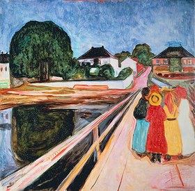 Edvard Munch: Mädchengruppe auf einer Brücke