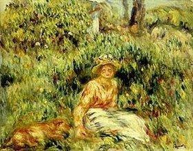 Auguste Renoir: Mädchen mit Hund vor einer blühenden Hecke