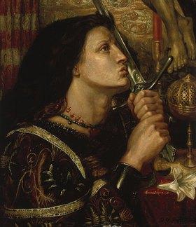 Dante Gabriel Rossetti: Jeanne d'Arc küßt das Schwert der Befreiung