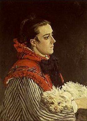 Claude Monet: Camille Monet mit Hund. 1866.