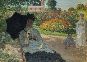 Claude Monet: Camille Monet mit Sohn und Kindermädchen im Garten