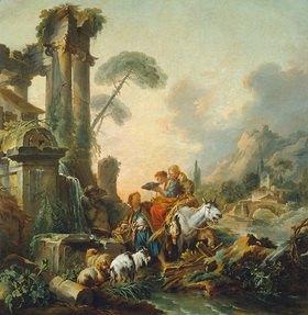 François Boucher: Rast am Brunnen. Lwd., 239 x 232 cm