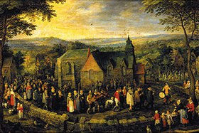 Jan Brueghel d.Ä.: Der Hochzeitszug auf dem Lande